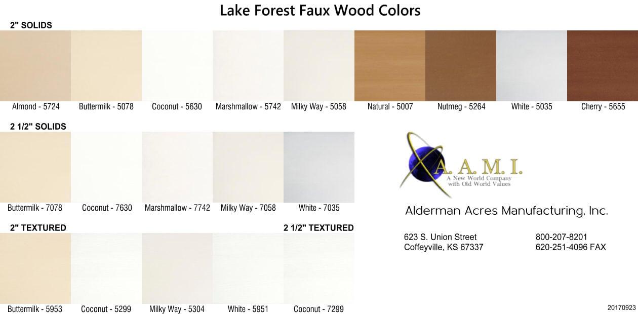 Blinds Faux Wood Horizontal Alderman Acres Manufacturing